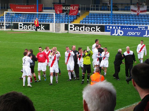 Crusaders celebrate reaching the 2011 Irish Cup Final