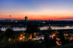 Belgrade sunset from Kalemegdan (Master Iksi) Tags: beograd belgrade sunset landscape sky skyline skyscraper kalemegdan srbija serbia canon 700d fortress city view novibeograd lights romantic amazing outdoor ngc