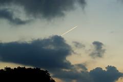É um pássaro? É um avião? (Thiago Souto) Tags: brazil sky brasil clouds airplane dawn sony céu santos nuvens alpha avião litoral tarde rastro voar entardecer α baixadasantista a230 quebramar aeronave emissáriosubmarino α230