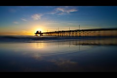 in my dreams (lensbaby) (Eric 5D Mark III) Tags: ocean california sunset sky usa cloud seascape blur reflection bird beach lensbaby canon landscape toy pier unitedstates wave wideangle newportbeach orangecounty composer eos5dmarkii doubleglassoptic 042xsuperwideconversionlens