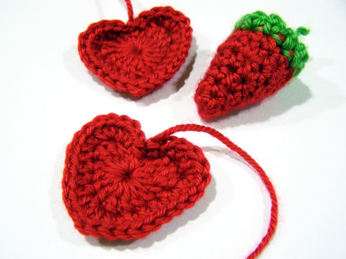Crochet Hearts and Strawberry