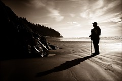 Friend Jim @ Ruby Beach (Steven Schnoor) Tags: bw beach nature sepia jw toned rubybeach schnoor jimward