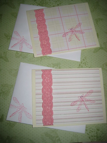 Day 47: Pink Dragonfly Notecard