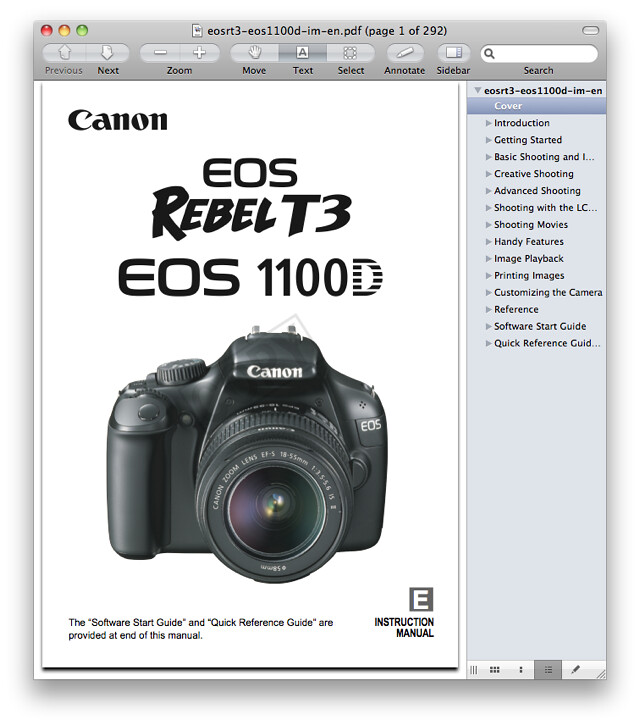 Canon T3 Manual