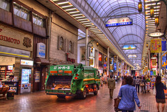 Mall Traffic (Thad Roan - Bridgepix) Tags: travel japan shop trash truck mall shopping store garbage arcade kobe vehicle waste recycle motomachi 201010