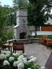 Outdoor Fireplace, Sitting Wall & Patio (Doug's Construction) Tags: brick stone wall landscape illinois construction landscaping stonework professional patio clay installation limestone paving gardenwall builder brickwork flagstone pavers naturalstone masonary westernsuburbs hardscape outdoorfireplace hardscaping hardlandscaping sittingwall dougsconstruction