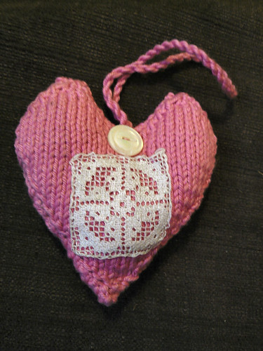 Pink Lavender and lace heart