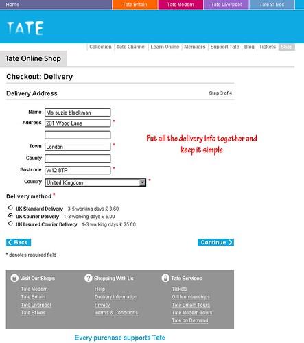 Tate Online Shop basket & checkout