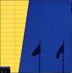 flgs (TeRo.A) Tags: blue shadow abstract ikea yellow nikon flag arcitecture vantaa sininen varjo keltainen lippu colourartaward creattività superstarthebest