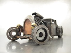 Metal Hot Rod Sculpture