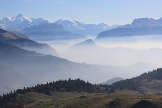 Le Mont Blanc vu depuis la pointe de Miribel