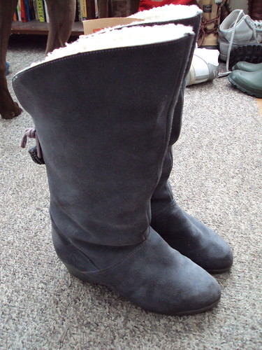 Grey Suede and Shearling Boots