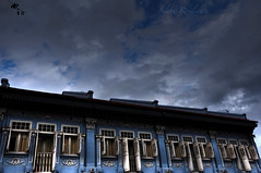 Junction off Joo Chiat. (Silent Resilience) Tags: street old city blue windows building architecture corner evening ancient nikon singapore day doors cloudy balcony chinese junction shops farah joochiat silentresilience