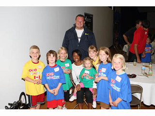 Dylan Armstrong poses with the kids