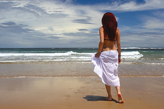 Dreaming (haddartist) Tags: ocean morning blue shadow sky sexy beach beautiful brasil clouds walking sand surf waves sweet gorgeous dream atmosphere sunny dreaming oceanside lovely dreamlike swell sarong dre mylove oceanfront andrezza barradocunhau