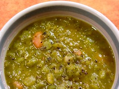 Split Pea Soup, so fast that not even the crust bread and herb garnishes can catch up