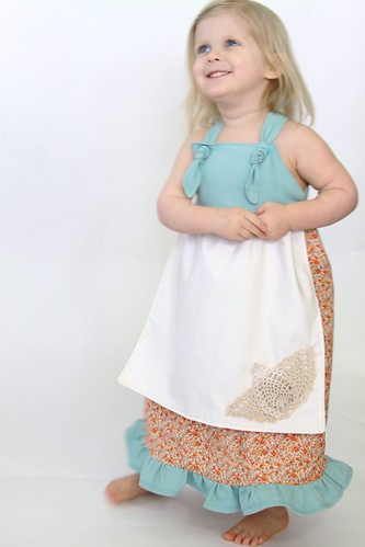 Spring Easter Knot Dress with Crocheted Doily Details