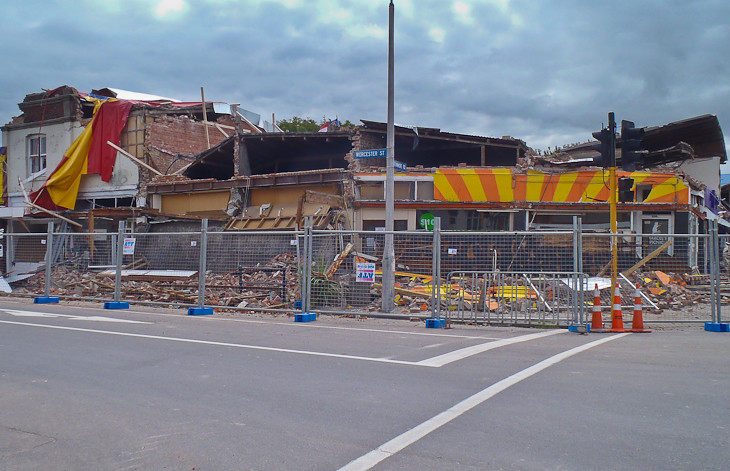an entire block damaged by the Christchurch Earthquake