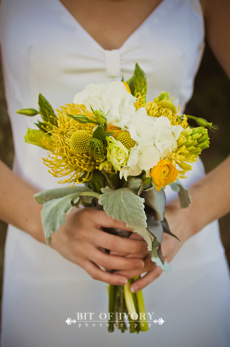 yellow and gray bridal bouquet