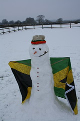 Rasta snowman with Jamaican Flag 1