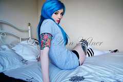 Sinead Kilpatrick (LeighAnnxo) Tags: blue fashion socks hair clothing high tattoos thigh skate vans wrecked sinead alternative kilpatrick