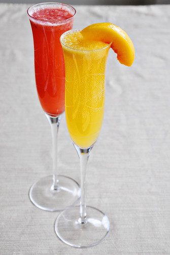 Strawberry and Peach Bellinis