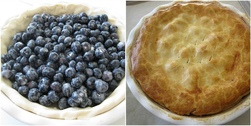 Fill with blueberries, cover with pie crust, egg wash. Bake. Done!
