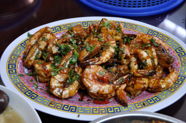 Sweet and savory prawns