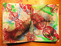 shrinking zenith:  an altered book 28 (mindbum) Tags: blue red england color art yellow writing altered word skeleton skull book words purple bright amphibian canterbury rubber frog stamp octopus splatter zenith shrinking