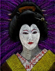 Geisha (traqair57) Tags: woman art beauty japan japanese kyoto artist drawing maiko geiko geisha nippon crayons hairstyle stushie