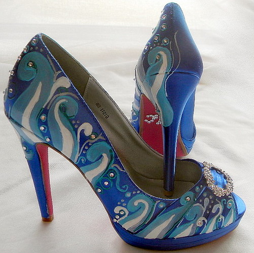 Wedding Shoes,something blue sapphire, beach crystals,I do
