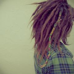 (lazyeye-) Tags: portrait woman green girl self hair square lock katie wrap format loc dread plaid rasta dreadlock zachry