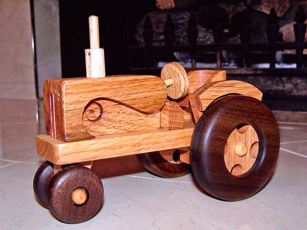 Handmade wooden farm tractor and wagon -- Gorgeous handcrafted solid wood toy