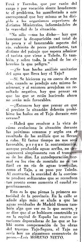 Artículo de Luis Moreno Nieto sobre la contaminación del río Tajo. Diario ABC del 8-6-1972