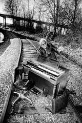Railroad Tracks and an Organ - Norman 2053 (JLPhotoArt - Jeremy Lindstrom) Tags: ca musician music canada vintage keyboard bc surrealism traintracks surreal oldman retro newwestminster unplugged railroadtracks lowreyorgan