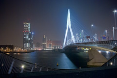 Erasmusbrug Rotterdam by night (Marco Boekestijn) Tags: city bridge blue light sunset white haven holland water netherlands skyline architecture modern night river de photography evening design swan haze rotterdam nikon fotografie erasmus shots harbour nederland landmark delft marco brug van avond maas kopvanzuid kop erasmusbrug zuid nieuwe zwaan rotjeknor maasboulevard cabels d80 skylinerotterdam boekestijn