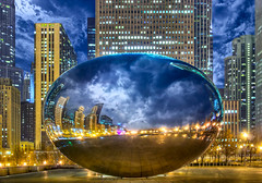 The Cloud Gate / Bean at Last (Mister Joe) Tags: chicago il usa cloudgate bean famous millenniumpark sculpture loop downtown reflection cloudy clouds skyscrapers illinois iconic nikon dynamicrange hdr placesofinterest iconicchicago dramatic city urban reflecting joe stumbled fbed tweeted
