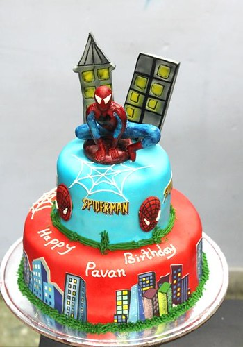 Spiderman sugarcrafted on 2 tier cake