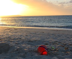 (mclaugh528) Tags: ocean sunset red summer beach water bucket sand pale