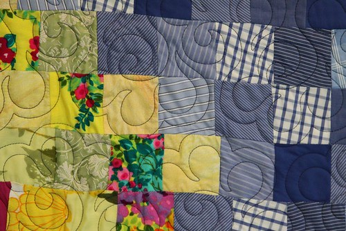 recycled fabric quilt, memory quilt, recycled clothing quilt, mamaka mills 3