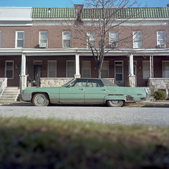 (patrickjoust) Tags: auto street city urban usa house color 120 6x6 tlr film home car analog america square lens enna us reflex md focus automobile mechanical kodak united north patrick twin maryland row baltimore v automatic pro epson medium format 28 states manual 500 expired 80 joust f28 werk rowhouse rowhome estados 160 80mm c41 unidos v500 ektacolor ennit rollop 8cm lipca lithagon autaut patrickjoust