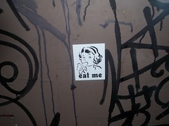 eat me ;) (VVVvoy) Tags: chicago art me dumpster sticker eat bananna