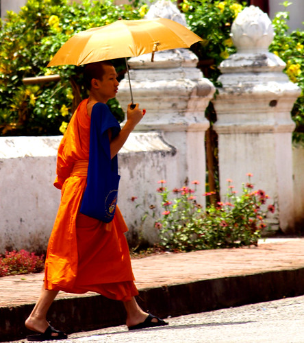 Luang Prabang - Monje con paraguas