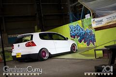 VW Golf GTi (Graham Curry Photography) Tags: pink white canon belfast stretch gas turbo skatepark poke ni petrol bbs dub satnav recaro lappy bagged airride t13 titanicquarter vwgolfgti splitrim grahamcurry portadownledwinmay