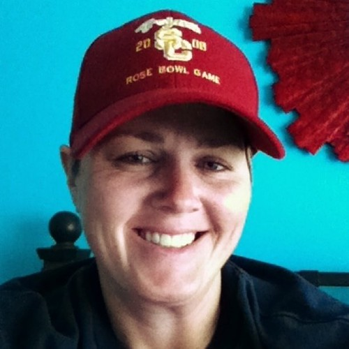Project 365 87/365: It is a baseball hat morning, USC Trojans. Along w/ a Dropkick Murphys shirt. Lounging in bed.