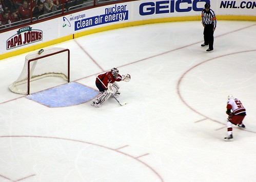 Semyon Varlamov faces Chad LaRose on a penalty shot. Varlomov poke checked to foil LaRose.