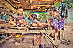 Kids Huddling Over Fire, Cold Day in Thailand (Captain Kimo) Tags: camera people kids digital photoshop portraits thailand photography country highdynamicrange buriram issan photomatixpro hdrphotography hdrphotos hdrimages topazplugin