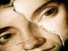 Lunacy (l'UomoLunatico) Tags: portrait woman face donna eyes quadro occhi sguardo madness antiques concept ritratto viso lunacy follia rippedpainting telastrappata