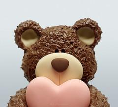 Baby Bear (Carla Mountain Spirit) Tags: cakedesign minicake fondant frostingchocolate sculpcake 3dfondant deliciososbolinhos bear heart love carlafreire macro