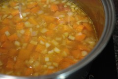 Curried Sweet Potato, Carrot, Lentil and Ginger Soup, simmering